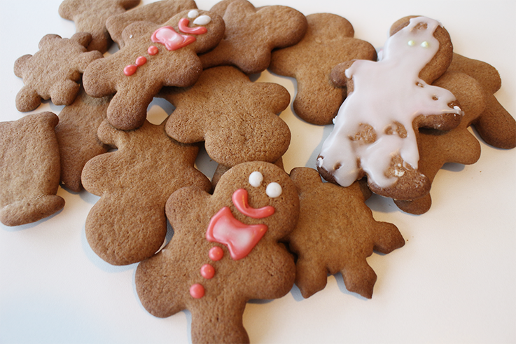 De færdige gingerbread cookies